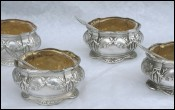Sterling Silver Set 4 Open Salt Cellar & Spoon Cut Crystal G Veyrat