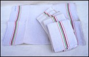 Six Unused French Linen Striped Towels Kitchen Cloths