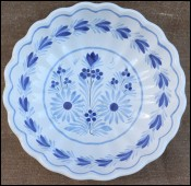 HB Quimper Blue White Scalloped Salad Bowl  1970