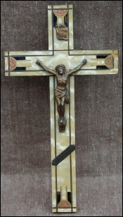 Art Deco Crucifix Spelter Bronze Christ Brass Inlayed 1935