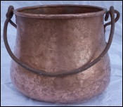 Hammered Copper Dovetailed Caldron Kettle Wrought Iron