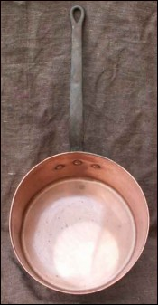 Large 12 French Hammered Copper Pan 1950