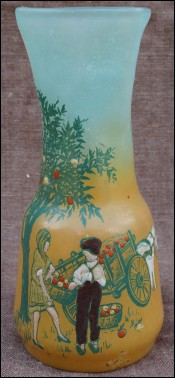 French Enameled Vase Picking Apple Legras Paris 1900