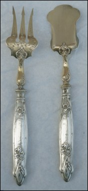 Art Nouveau Sterling Silver Pie Cake Petits Fours Serving Set Ravinet Denfert