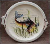 Monaco Ceramic Ceraflor Crackeled Fish Plate 1950