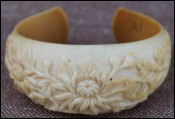 French Vietnam Annam Mum Flowers Ivory Carved Bracelet Indochina