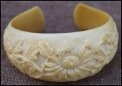 French Vietnam Annam Mum Flowers Ivory Carved Bracelet