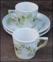 HB Quimper Green White Pair Flowered Demi-Tasse Cup & Saucers