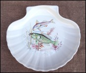 Sea Fish Scalloped Oyster Plate Mehun Porcelain 1960