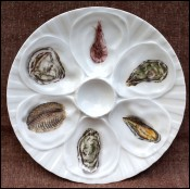 Oyster Plate Shellfish Shrimp Porcelain France 1970