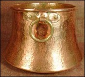 Early 19th C French Cauldron with Rings Hammered Copper