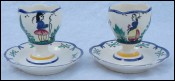 Pair Eggcups Couple Little Bretons HB Quimper