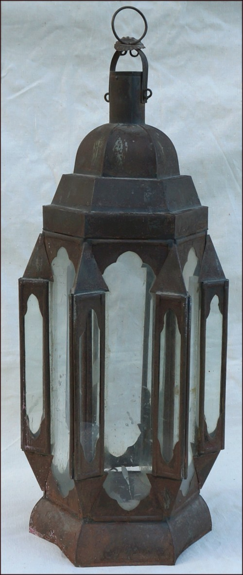 Large Wedding Moroccan Candle Lantern Toleware 70's