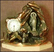 Music Box Alarm Clock Our Lady of Lourdes in Coppered Spelter