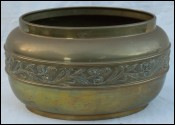 Brass Planter Jardiniere Flower Pot Repousse Floral Decor