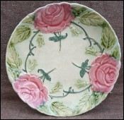 Onnaing Majolica Rose Plate Late 19th C