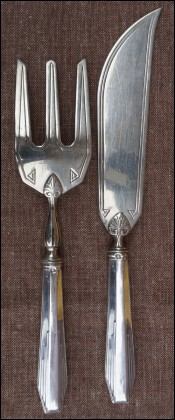 Art Deco Sterling Silver Pie Cake Serving Set