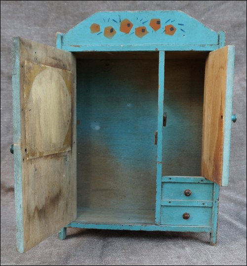 French Art Deco Doll Armoire Or Wardrobe In Painted Wood With Aluminum  Paper For Mirror, False Drawers And 2 Doors Made During The 1940u0027s.