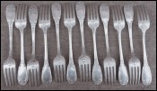 Dessert Luncheon Forks Set of 12 Silverplate 1900