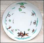 Hunting Court Hand Painted Porcelain Plate Chantilly