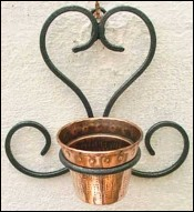 French Country Flower Pot Wall Holder Wrought Iron Copper