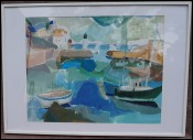 Marine Port Sauzon Belle Ile Monique Radenac Gouache