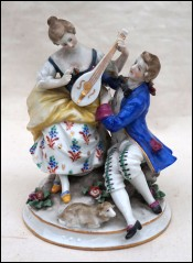 Capodimonte Music Lesson Italian Art Porcelain Crowned N 19th C