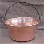 Cauldron Caldron Roll Top Brass Wrought Iron Handle