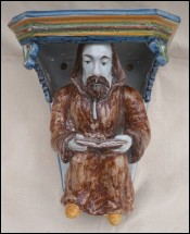 Monk Reading Breviary Statue Wall Hanging Console Faenza Italy