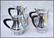 Empire Set Tea Coffee Set Silveplate 4 Pots Ebony Handle