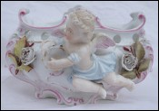 Musician Putti Tambourine Jardiniere Planter German Porcelain Saxe 19th C