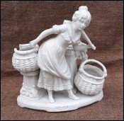 German Saxe Porcelain Biscuit Flower Seller Statue Vase 1880