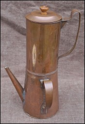 French Provincial Coppered Metal Decorative Coffe Pot 1900