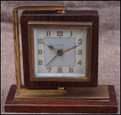 Bayard Modernist Rotating Alarm Clock Gilt Brass Rosewood
