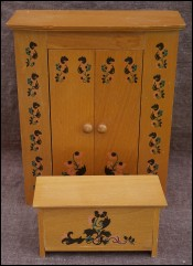 Doll Bedroom Armoire Wardrobe Toys trunk