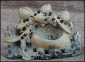 Chinese Hand Carved Soapstone Inkwell Leaves Fruits
