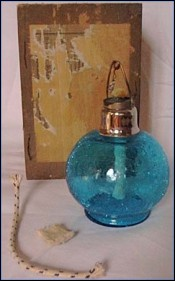 Rare Blue Crackled Glass Lamp