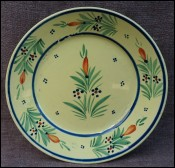 HB Quimper Flowered Sun Decor Plate French Faience