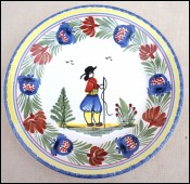 HB Quimper Little Breton Tradition Plate Hand Painted France 1980