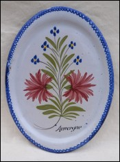 Charolles Large Oval Serving Dish Auvergne Faience 1930