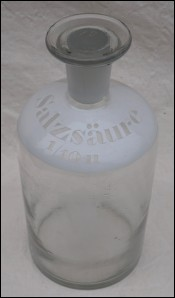 Apothecary Bottle Glass w Stopper Enamel Label Hydrochloric Acid