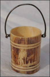 Ivory Miniature Fishing Bucket Fisherman Dieppe 1900