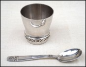Baby Goblet Beaker Cup Tumbler with Spoon Silverplate 1960's