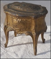 Jewel Trinket Box Gilt Spelter Chest Louis XV Style 19th C