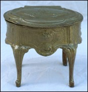 Jewel Trinket Box Gilt Spelter Chest Louis XV Style 1880