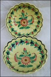 HB Quimper Vintage Pair Scalloped Salad Dish Bowl Flowers