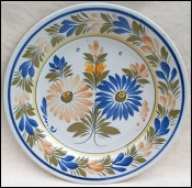 HENRIOT QUIMPER Faience Dahlias Flowered Plate 1930