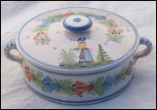 QUIMPER HR Trinket Candy Lidded Box Breton Late 19th C