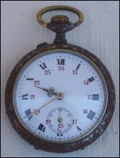 French Pocket Watch Steel Case Enamel Dial 1910
