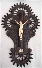 Christ Wall Crucifix Cut Carved Turned Wood Quimper Brittany